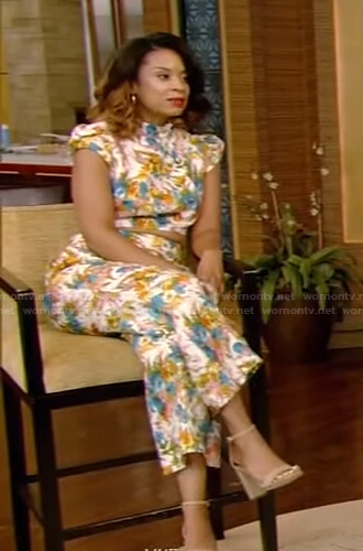 Susan Kelechi Watson's floral cropped top and pants on Live with Kelly and Ryan