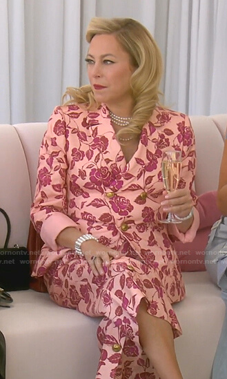 Sutton's pink rose blazer and pants on The Real Housewives of Beverly Hills