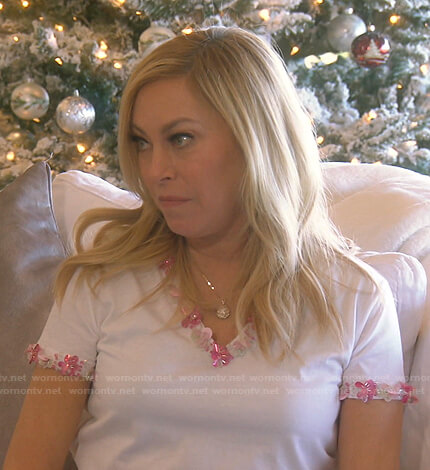 Sutton's white floral applique tee on The Real Housewives of Beverly Hills