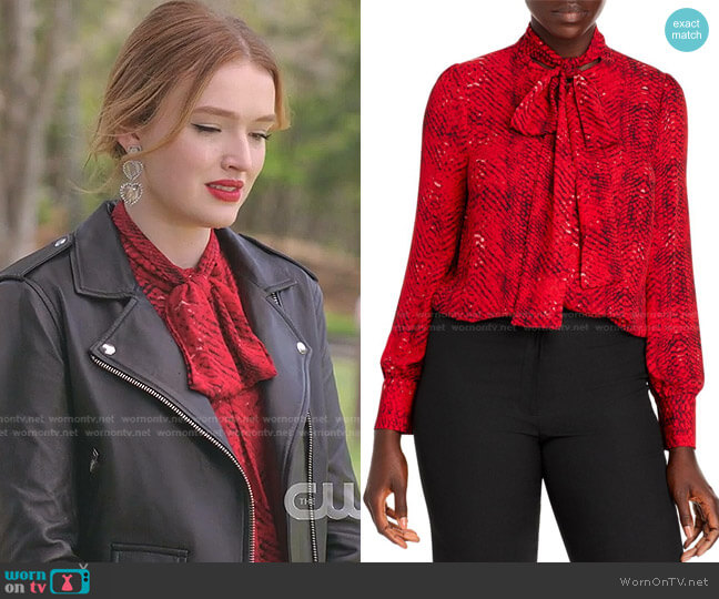 Snake Print Tie Neck Blouse by T Tahari worn by Kirby Anders (Maddison Brown) on Dynasty
