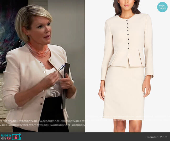 Pleated Peplum Skirt Suit by Tahari ASL worn by Ava Jerome (Maura West) on General Hospital