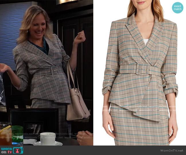Plaid Asymmetrical-Hem Jacket and Skirt by Tahari ASL worn by Bonnie Burroughs on General Hospital