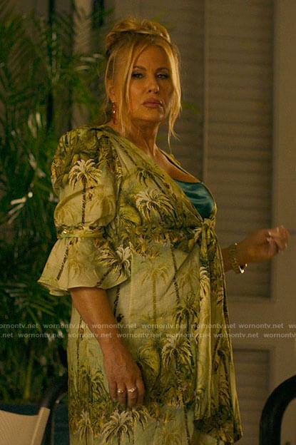 Tanya's green palm print dress on The White Lotus