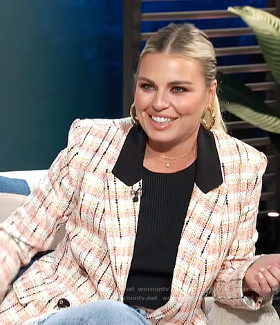 Tanya Rad's tweed plaid blazer on E! News Daily Pop