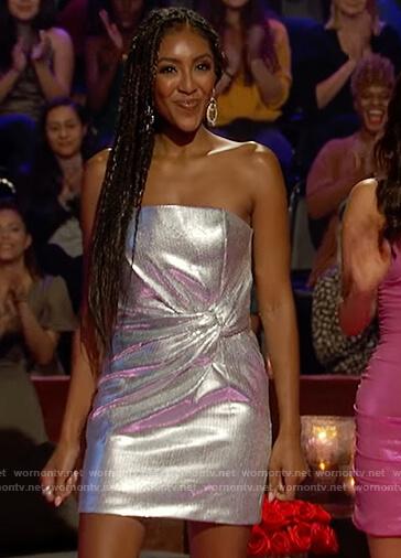 Tayshia's metallic twisted mini dress on The Bachelorette