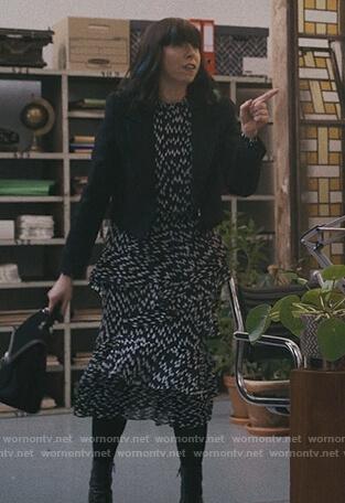 Lily's black teardrop print ruffle dress on Modern Love