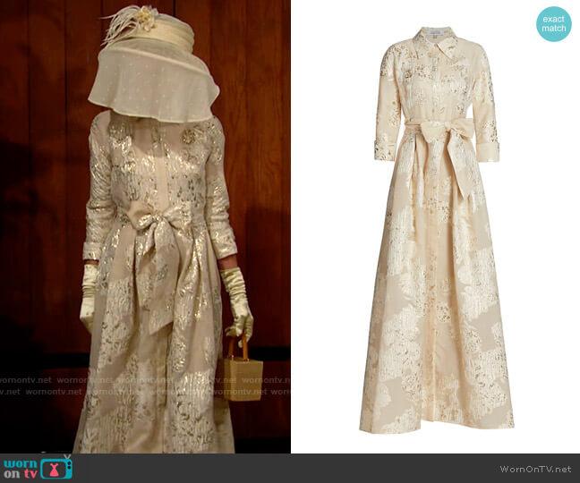 Teri Jon for Ricki Freeman Three-Quarter Sleeve Metallic Jacquard Shirt Waist Gown worn by Pamela Douglas (Alley Mills) on The Bold & the Beautiful