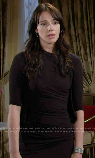 Tessa's black side ruched dress on The Young and the Restless