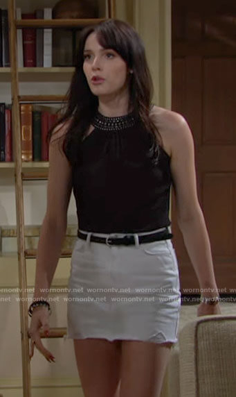 Tessa's black top with beaded neck on The Young and the Restless