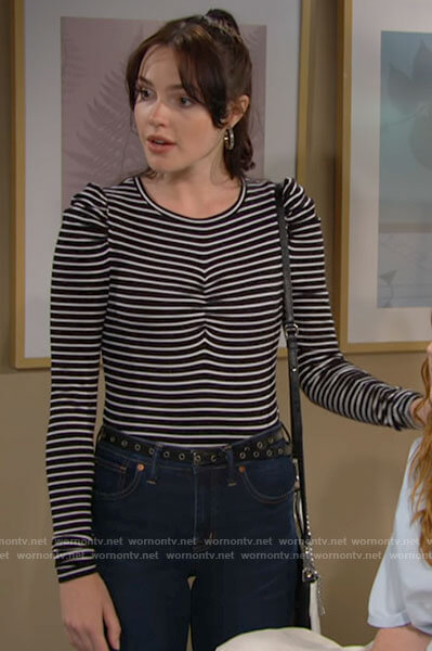 Tessa's striped ruched front top on The Young and the Restless
