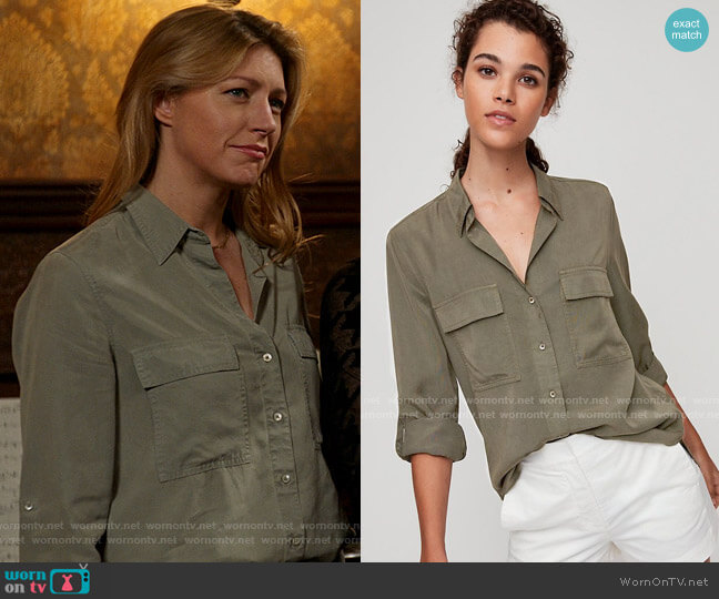 The Group by Babaton at Aritzia Utility Button Down worn by Ava Sharpe (Jes Macallan) on Legends of Tomorrow