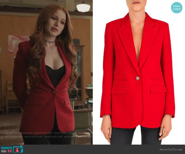 Single Heart-Shaped Button Crepe Blazer by The Kooples worn by Cheryl Blossom (Madelaine Petsch) on Riverdale