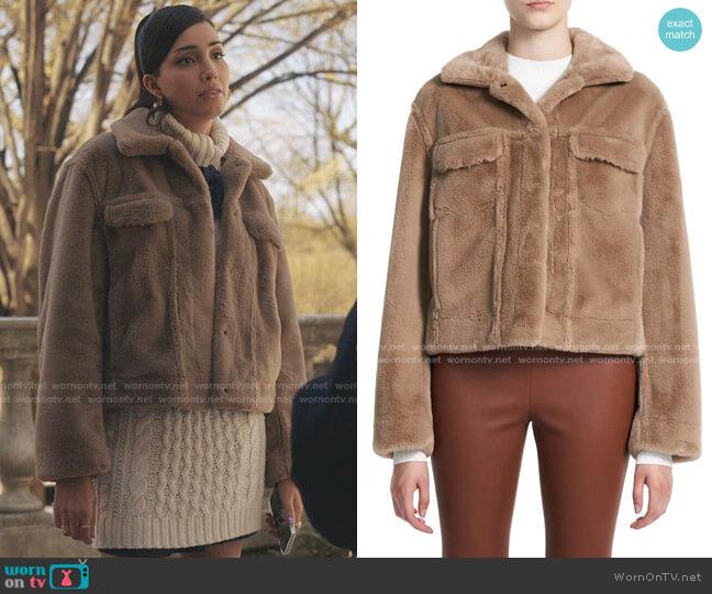 Faux Fur Trucker Jacket by Theory worn by Luna La (Zión Moreno) on Gossip Girl