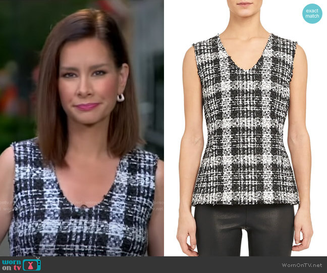 Sculpted Tweed Peplum Top by Theory worn by Rebecca Jarvis  on Good Morning America