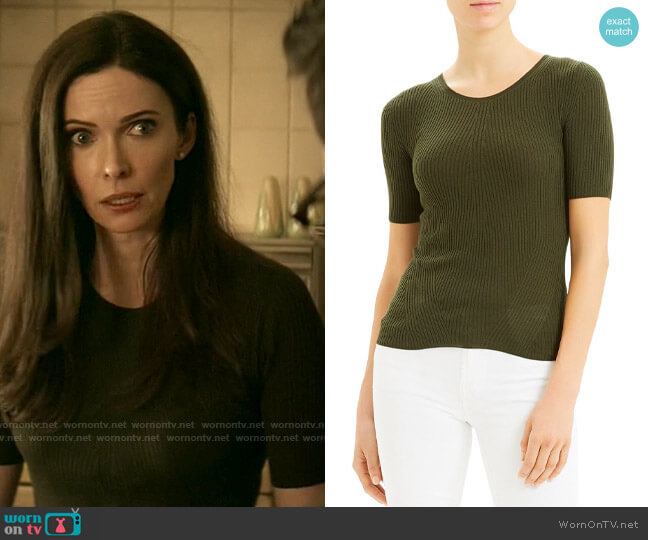 Theory Short-Sleeve Ribbed Wool Sweater worn by Lois Lane (Elizabeth Tulloch) on Superman & Lois