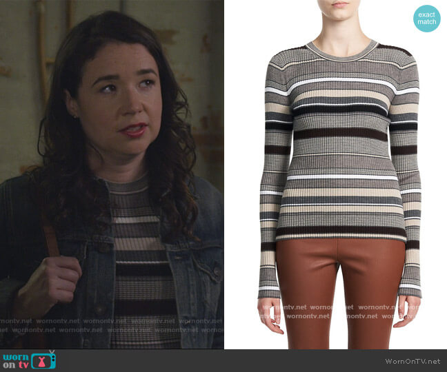 Stripe Wool Sweater by Theory worn by Marissa Gold (Sarah Steele) on The Good Fight