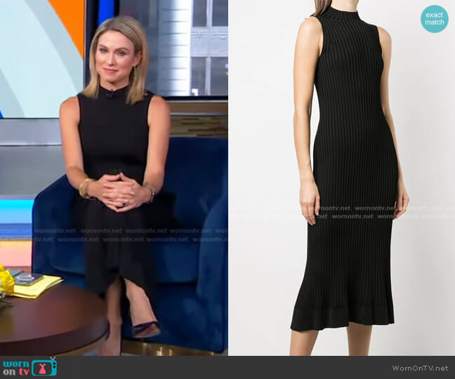 Stretch-Knit Ribbed Flared Dress by Theory worn by Amy Robach  on Good Morning America