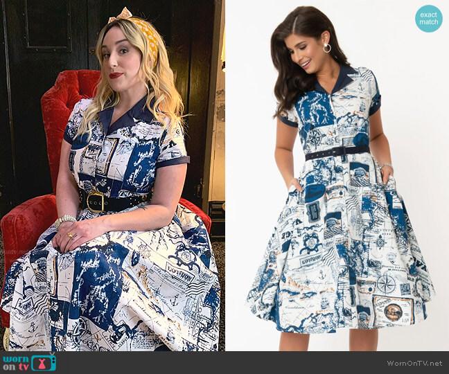 World Map Print Alexis Swing Dress by Unique Vintage
