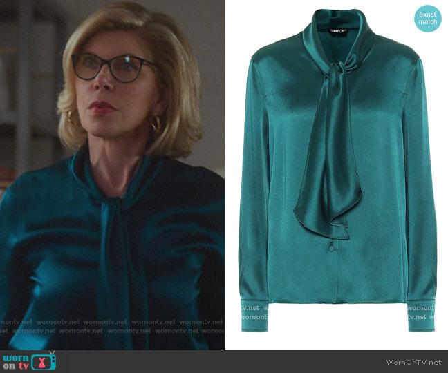 Tie-neck satin Blouse by Tom Ford worn by Diane Lockhart (Christine Baranski) on The Good Fight