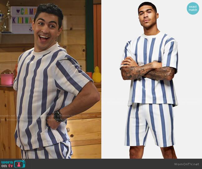 Short Sleeve Striped Sweatshirt and Shorts by Topman worn by Parker Preston (Trevor Tordjman) on Bunkd