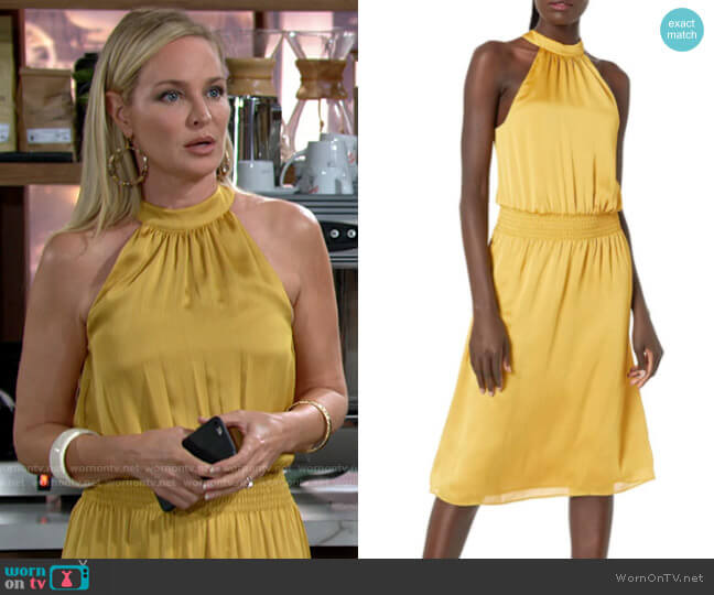 Trina Turk Moonlit Dress in Gold Ray  worn by Sharon Collins (Sharon Case) on The Young & the Restless