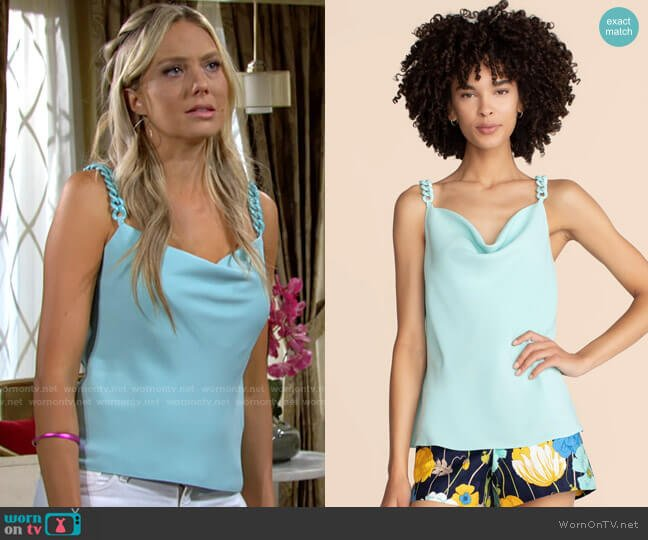 Trina Turk Seductive Top in Sea Glass worn by Abby Newman (Melissa Ordway) on The Young & the Restless