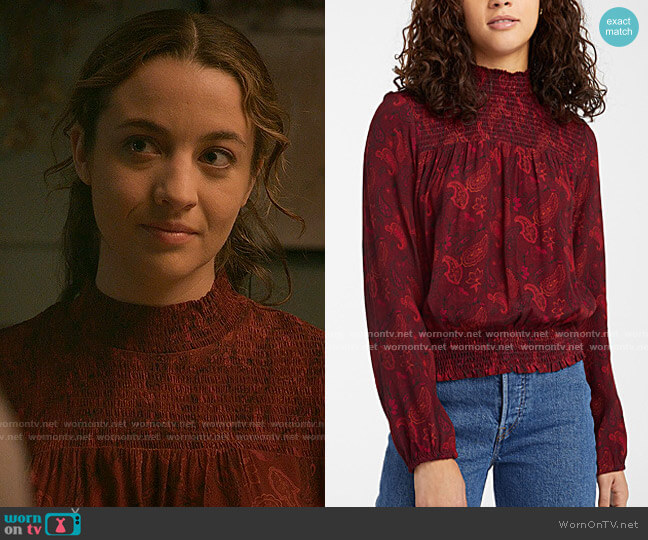 Simons Twik Smocked Detail Blouse worn by Sarah Cooper (Stella Baker) on The Republic of Sarah