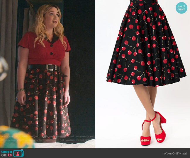 Magnolia Place 1950s Black & Red Cherry Print Swing Skirt by Unique Village worn by Davia (Emma Hunton) on Good Trouble