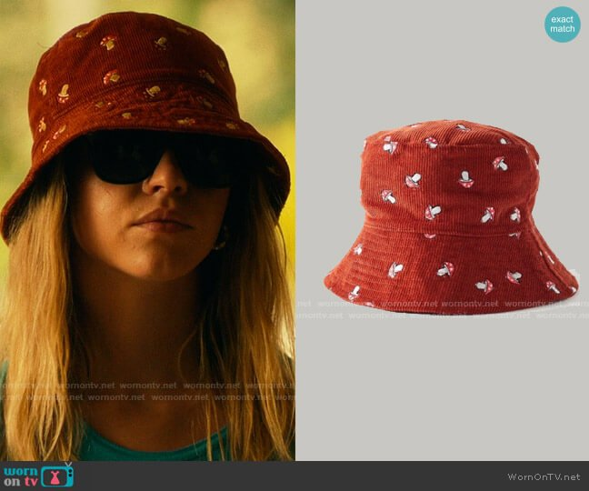 Urban Outfitters Embroidered Corduroy Bucket Hat worn by Olivia Mossbacher (Sydney Sweeney) on The White Lotus