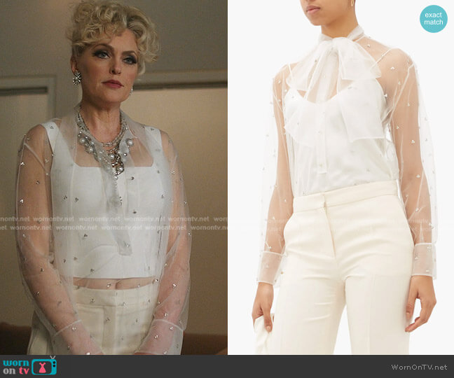 Crystal-Embellished Tulle Blouse by Valentino worn by Alexis Carrington (Elaine Hendrix) on Dynasty