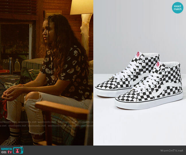 Vans SK8 Hi Checkerboard Sneakers worn by Kiara Carrera (Madison Bailey) on Outer Banks