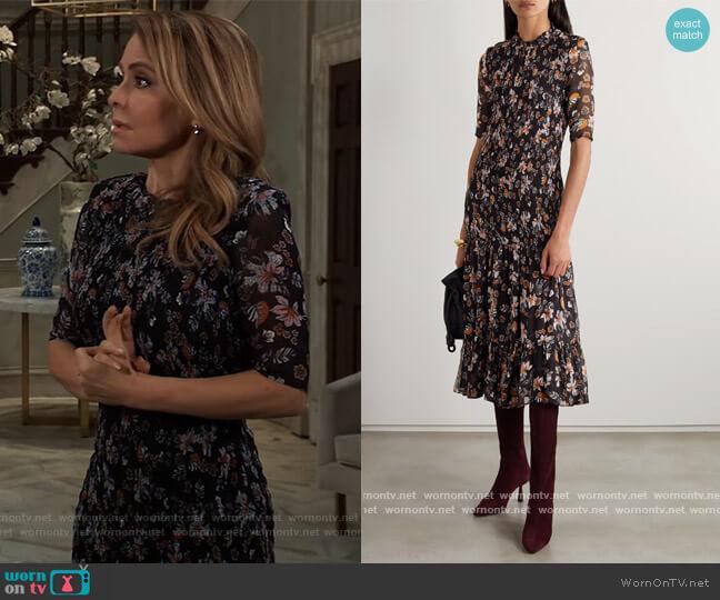 Gabi shirred floral-print chiffon midi dress by Veronica Beard worn by Olivia Falconeri (Lisa Lo Cicero) on General Hospital
