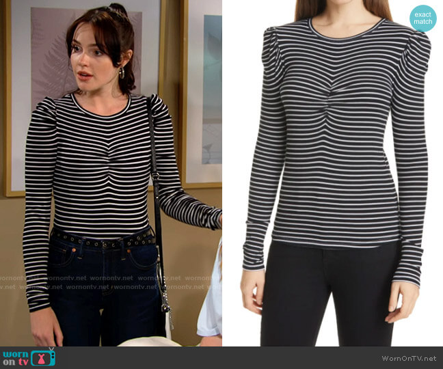 Veronica Beard Beanie Stripe Puff Sleeve Top worn by Tessa Porter (Cait Fairbanks) on The Young & the Restless