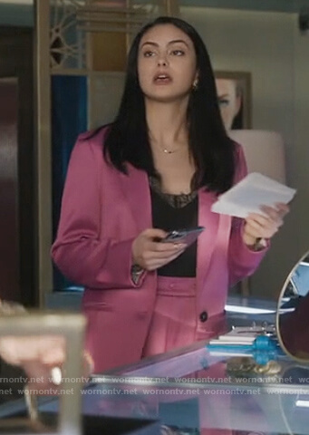 Veronica's pink satin blazer and pants on Riverdale