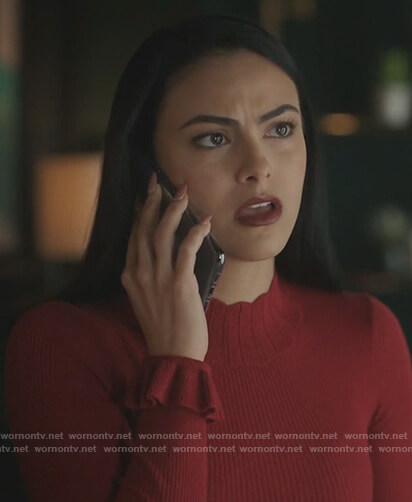 Veronica's red ribbed mock neck sweater on Riverdale
