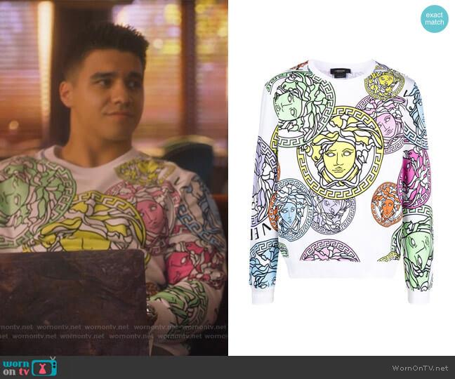 Medusa-print sweatshirt by Versace worn by Vivek Shah (Jordan Buhat) on Grown-ish