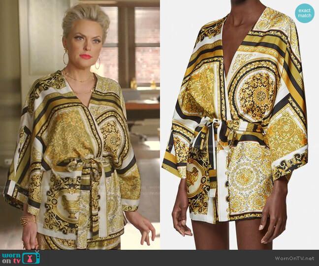 Baroque-Print Silk Robe by Versace worn by Alexis Carrington (Elaine Hendrix) on Dynasty