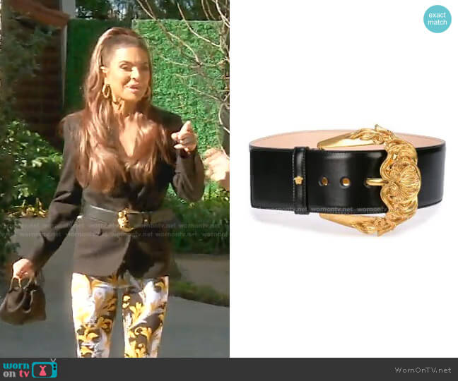 First Line Baroque Buckle Leather Belt by Versace worn by Lisa Rinna  on The Real Housewives of Beverly Hills