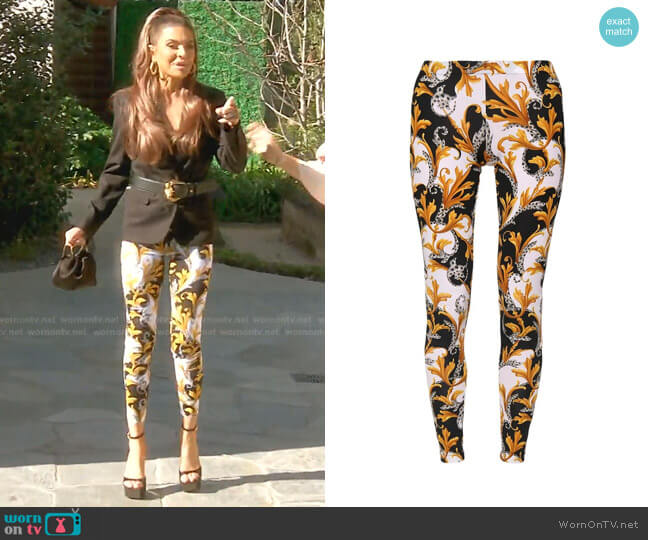 Printed Jersey Leggings by Versace worn by Lisa Rinna  on The Real Housewives of Beverly Hills