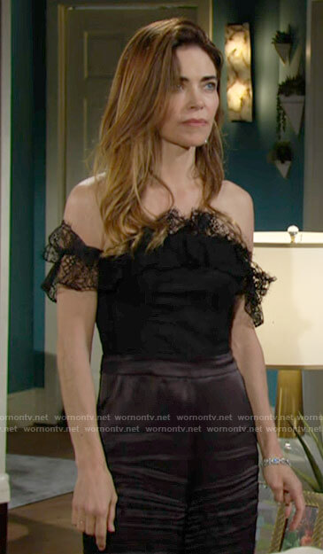 Victoria's black lace off-shoulder jumpsuit on The Young and the Restless