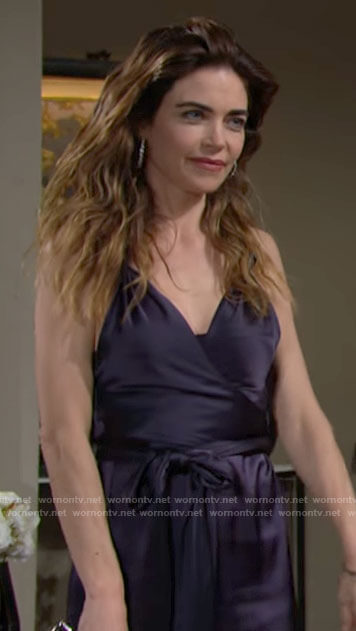 Victoria's navy blue satin dress on The Young and the Restless