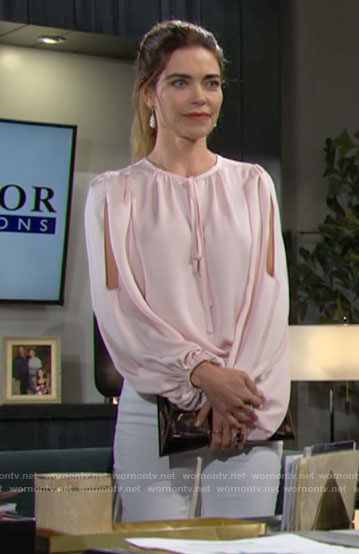 Victoria's pink split-sleeve blouse on The Young and the Restless