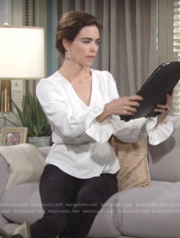 Victoria's white v-neck blouse on The Young and the Restless