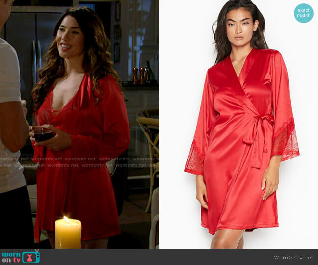 Victorias Secret Chantilly Lace Robe worn by Steffy Forrester (Jacqueline MacInnes Wood) on The Bold & the Beautiful
