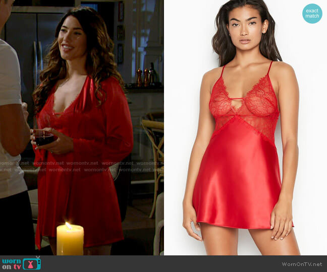 Victorias Secret Lace Plunge Slip worn by Steffy Forrester (Jacqueline MacInnes Wood) on The Bold & the Beautiful