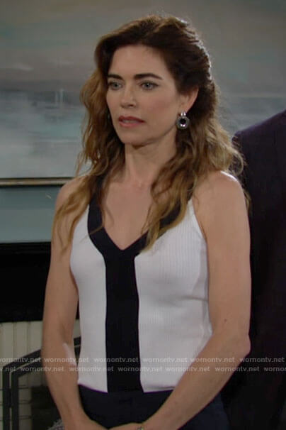 Victoria's white tank top with black trim on The Young and the Restless