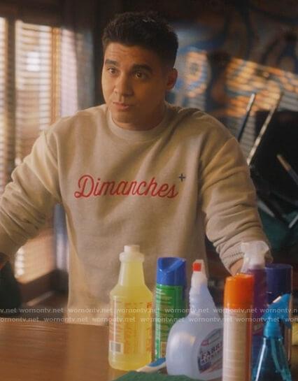 Vivek's gray Dimanches sweatshirt on Grown-ish