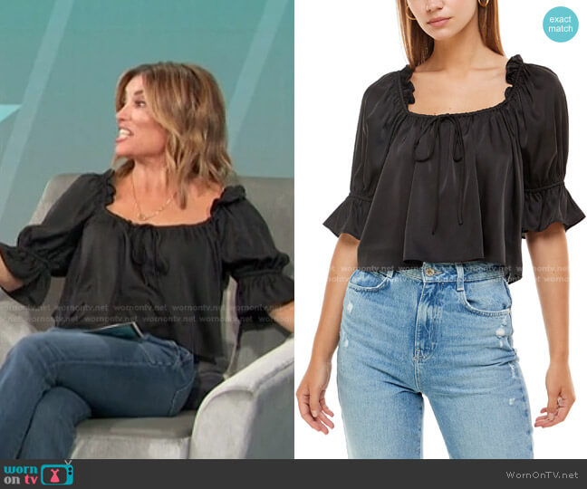 Misti Puff Sleeve Top by Wayf worn by Kit Hoover  on Access Hollywood
