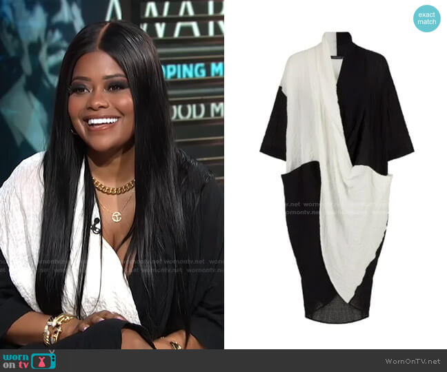Constrasting Jacquard Dress by Nocturne worn by Karen Civil on E! News Daily Pop