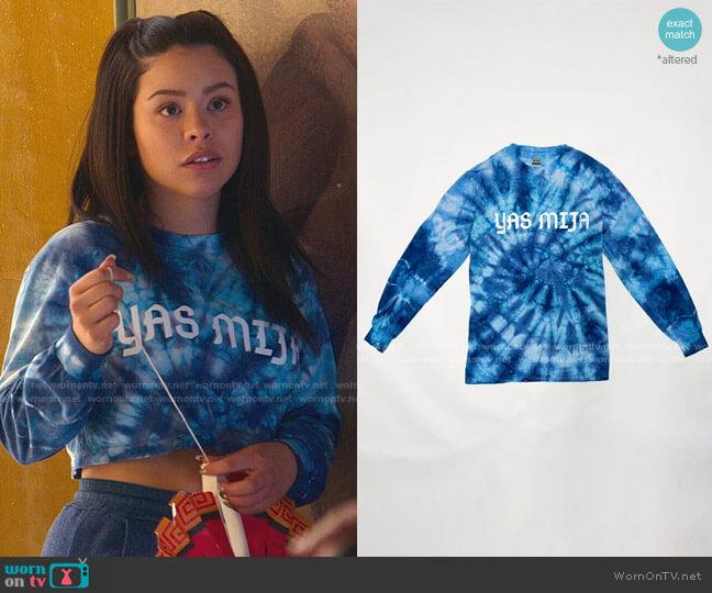 Cielito Tie-Dye Long Sleeve Shirt by Yas Mija worn by Mariana Foster (Cierra Ramirez) on Good Trouble